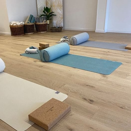 Mats and equipment in calm yoga studio