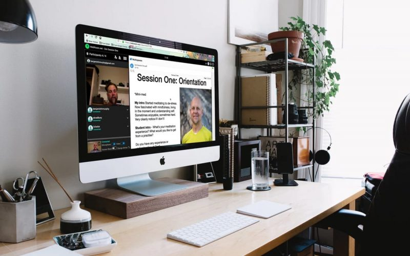 Relaxed studio office with ZenYo online course on mac screen